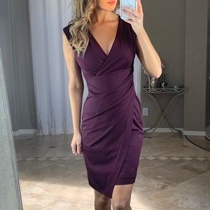 White House Black Market Purple Wrap Sheath Dress